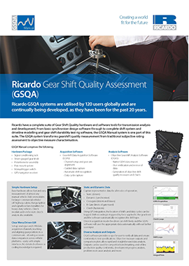 GSQA - Gear Shift Quality Assessment Flyer