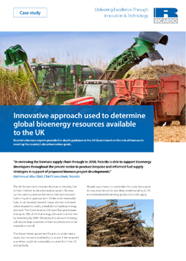 Innovative approach used to determine global bioenergy resources available to the UK