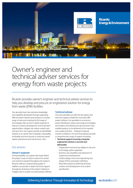 Owner's engineer and technical adviser services for energy from waste projects