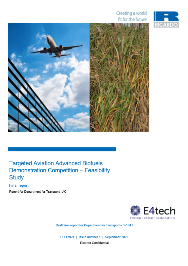 Targeted Aviation Advanced Biofuels Demonstration Competition – Feasibility Study