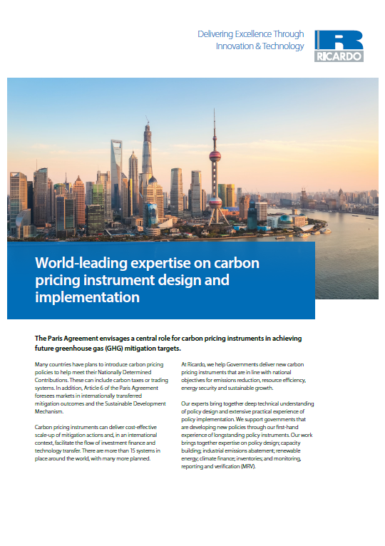 World-leading expertise on carbon pricing instrument design and implementation