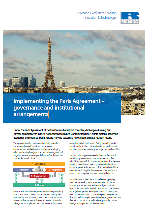 Implementing the Paris Agreement – governance and institutional arrangements