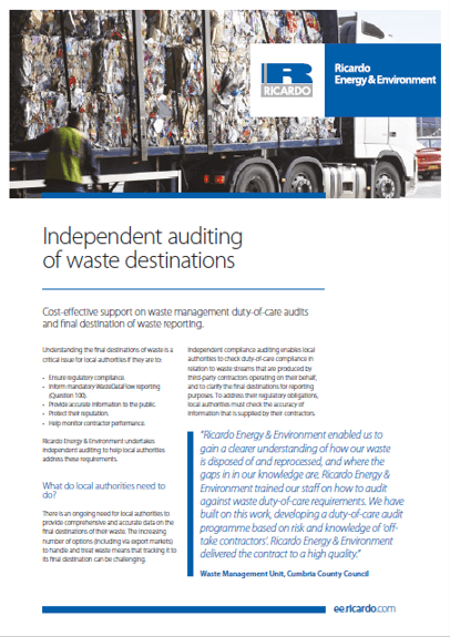 Waste destination auditing capability statement