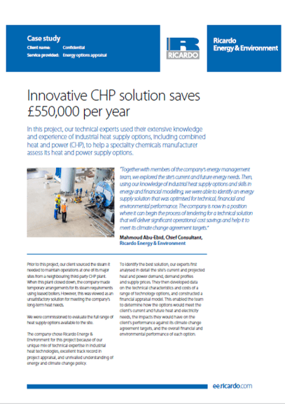 Innovative CHP solution saves £550,000 per year