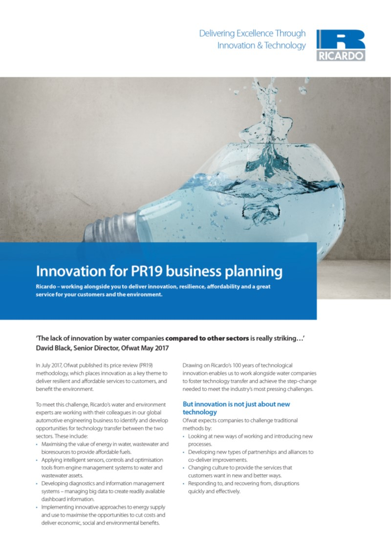 Innovation for PR19 business planning