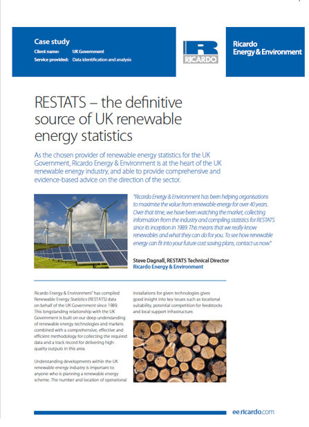 RESTATS – the definitive source of UK renewable energy statistics