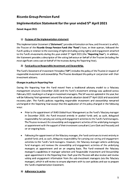 Statement of Investment Principles for the Ricardo Group Pension Fund