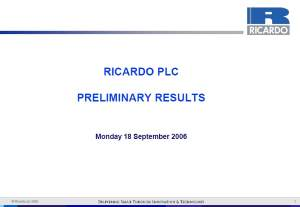 Preliminary Results Presentation 2005/06 - September 2006
