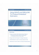Using WAVE and simulink to produce embedded estimators